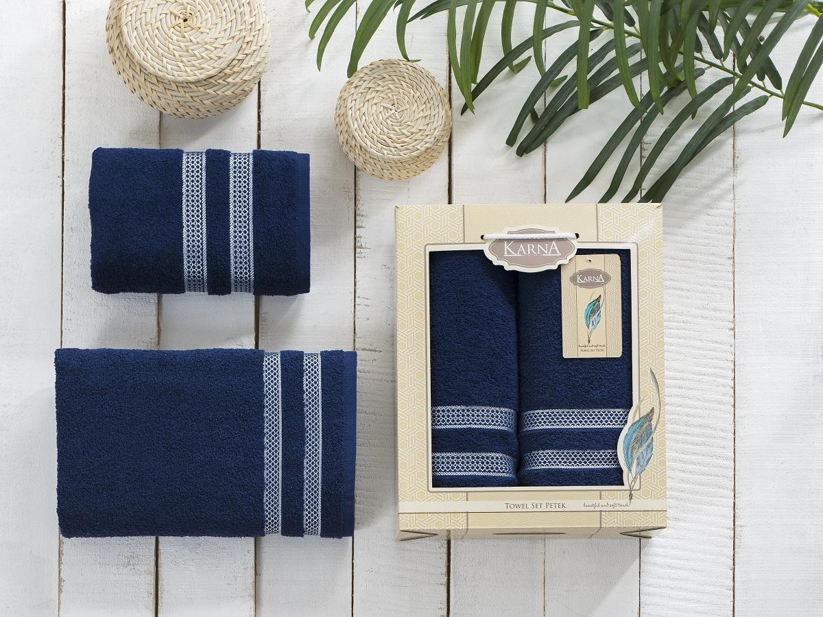 Набор полотенец Karna Petek, цвет: синий, 2 шт2040/CHAR013
