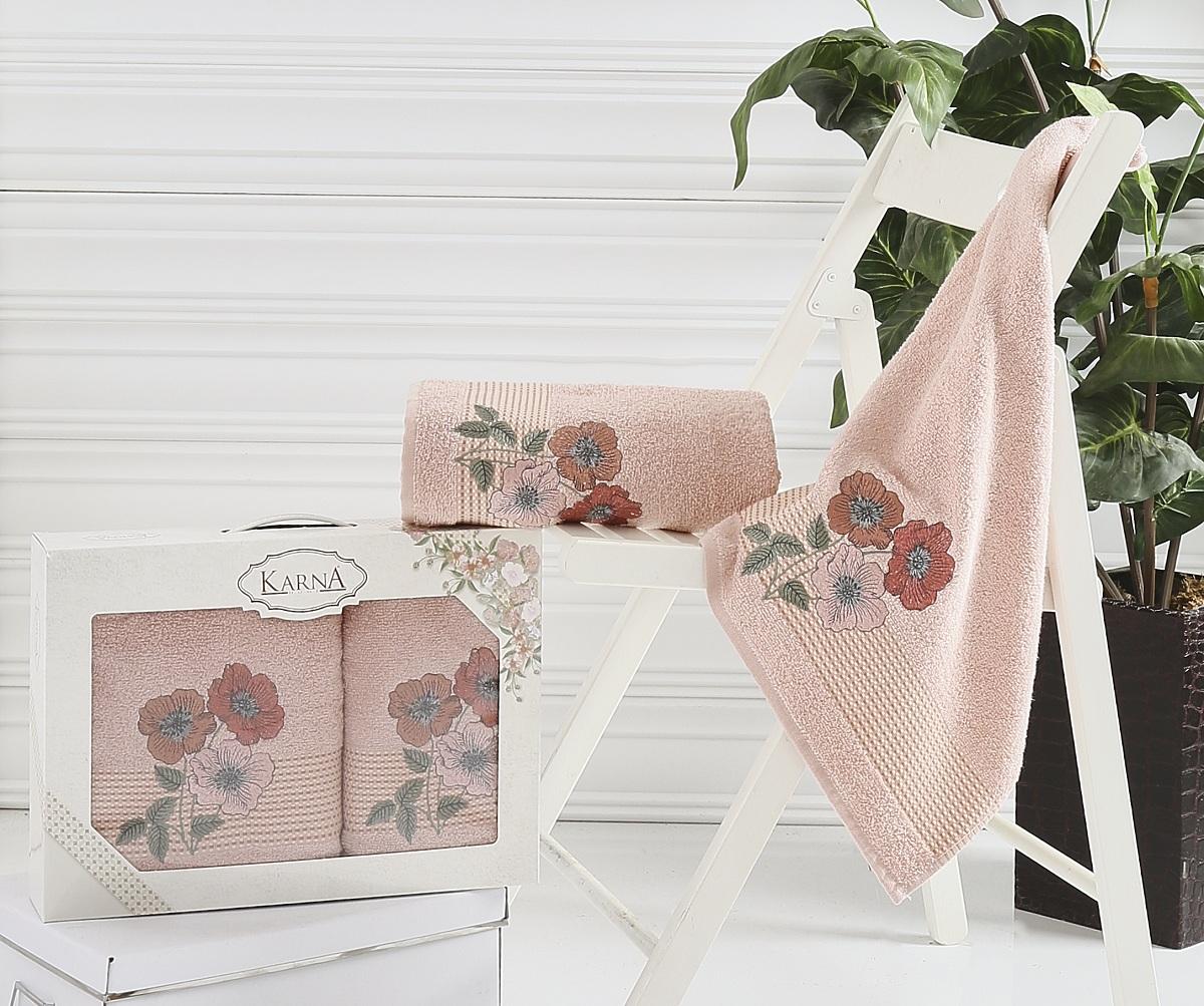 Набор полотенец Karna Sandy, цвет: пудровый, 2 шт2390/CHAR003