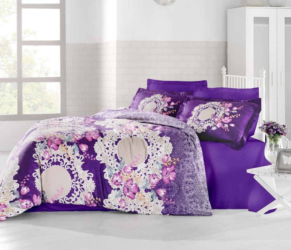 Комплект белья Altinbasak Elvin, 2-спальный, наволочки 50х70, цвет: фиолетовый256/20/CHAR001