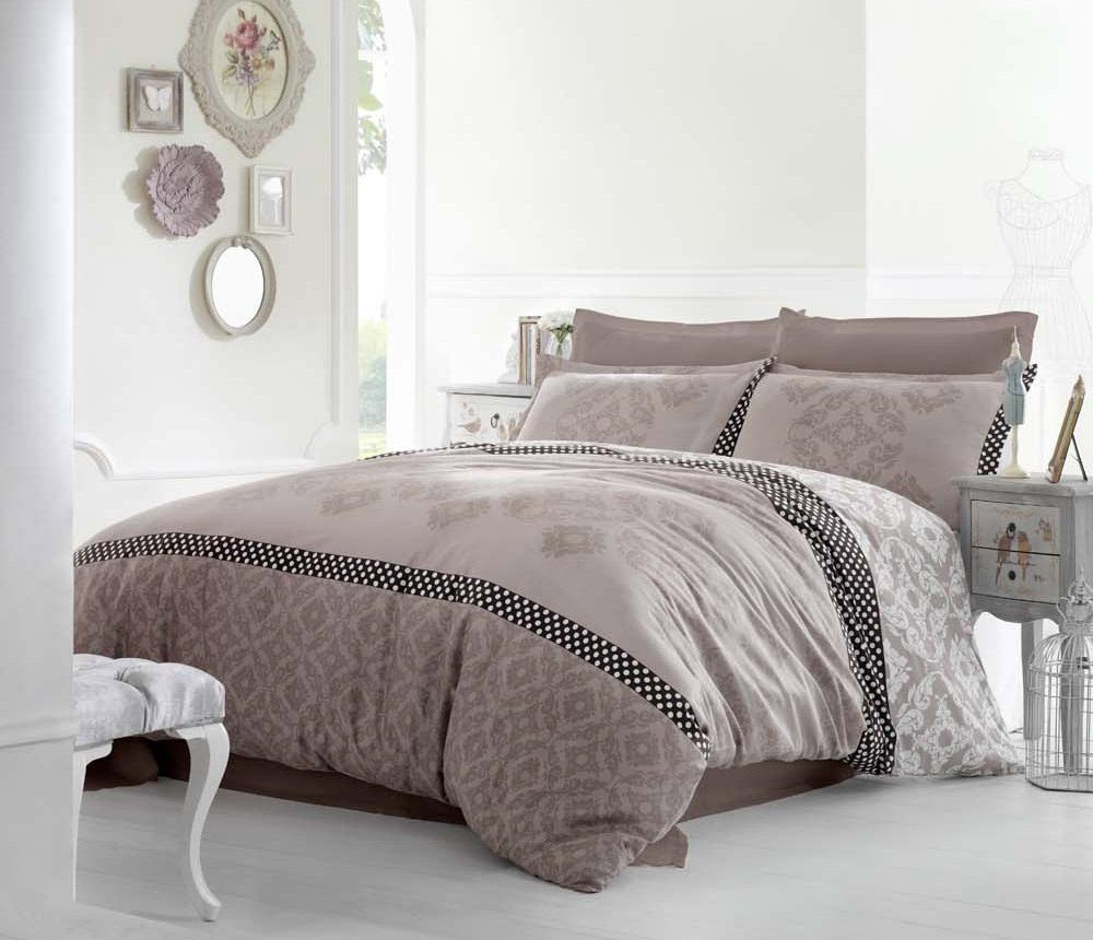 Комплект белья Altinbasak Alona, 2-спальный, наволочки 50х70, цвет: коричневый256/22/CHAR001