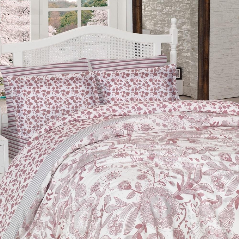 Комплект белья Altinbasak Dina, 2-спальный, наволочки 50х70, цвет: розовый256/7/CHAR002