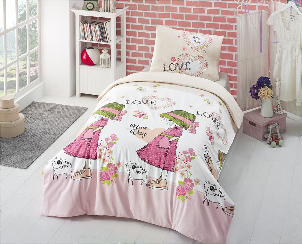 Комплект белья Altinbasak Nice Day, 1,5-спальный, наволочки 50х70, цвет: розовый296/11/CHAR002