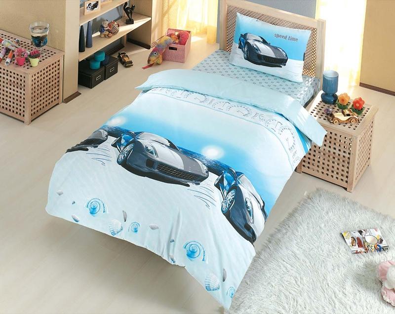 Комплект белья Altinbasak Speed Time, 1,5-спальный, наволочки 50х70, цвет: голубой296/4/CHAR001