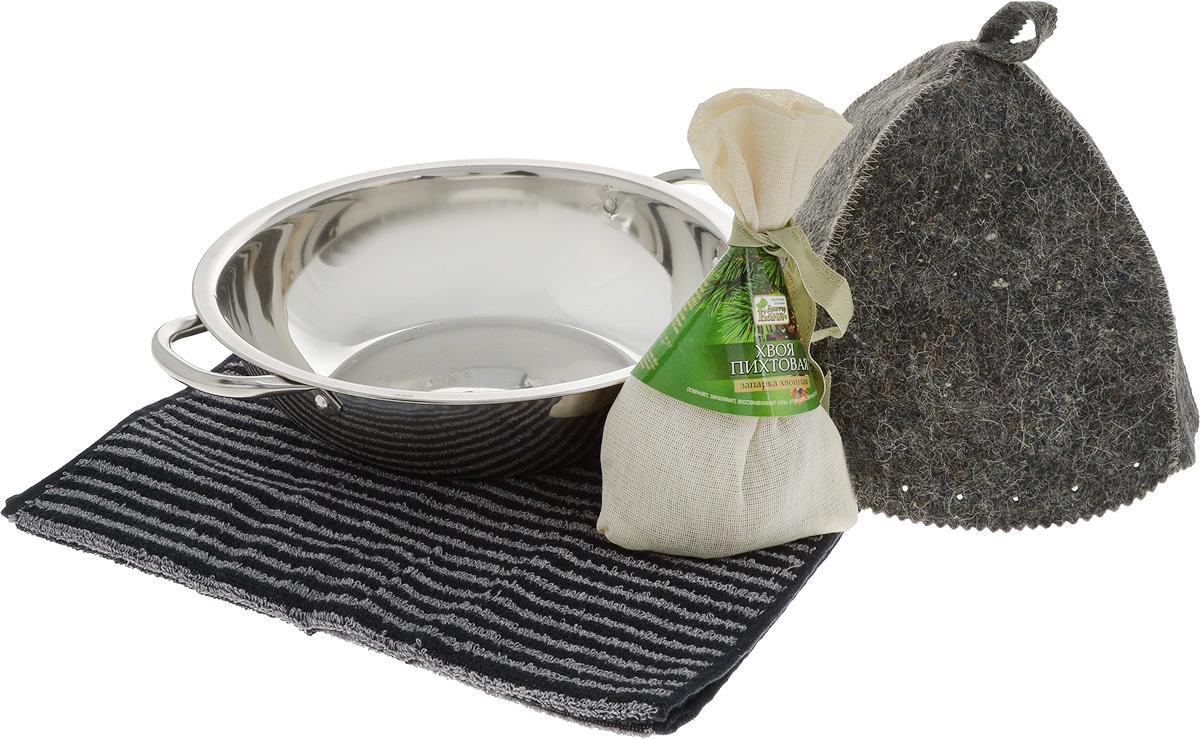 Набор для бани и сауны Доктор Баня Подарочный №6, 4 предмета905713Набор для бани и сауны Доктор Баня Подарочный №6 включает в себя: - тазик с ручками, выполненный из металла; - полотенце, выполненное и хлопка; - шапка, выполненная из войлока; - хвойная запарка Хвоя пихтовая. Использование запарки в бане и сауне обеспечивает свежесть, восстановление сил и улучшение самочувствия. Такой набор поможет с удовольствием и пользой провести время в бане, а также станет чудесным подарком друзьям и знакомым, которые по достоинству его оценят при первом же использовании. Размер полотенца: 35 х 76 см. Диаметр тазика: 28 см. Ширина тазика (с учетом ручек): 33,5 см. Высота шапки: 22 см. Диаметр основания шапки: 68 см. Вес запарки: 50 гр.