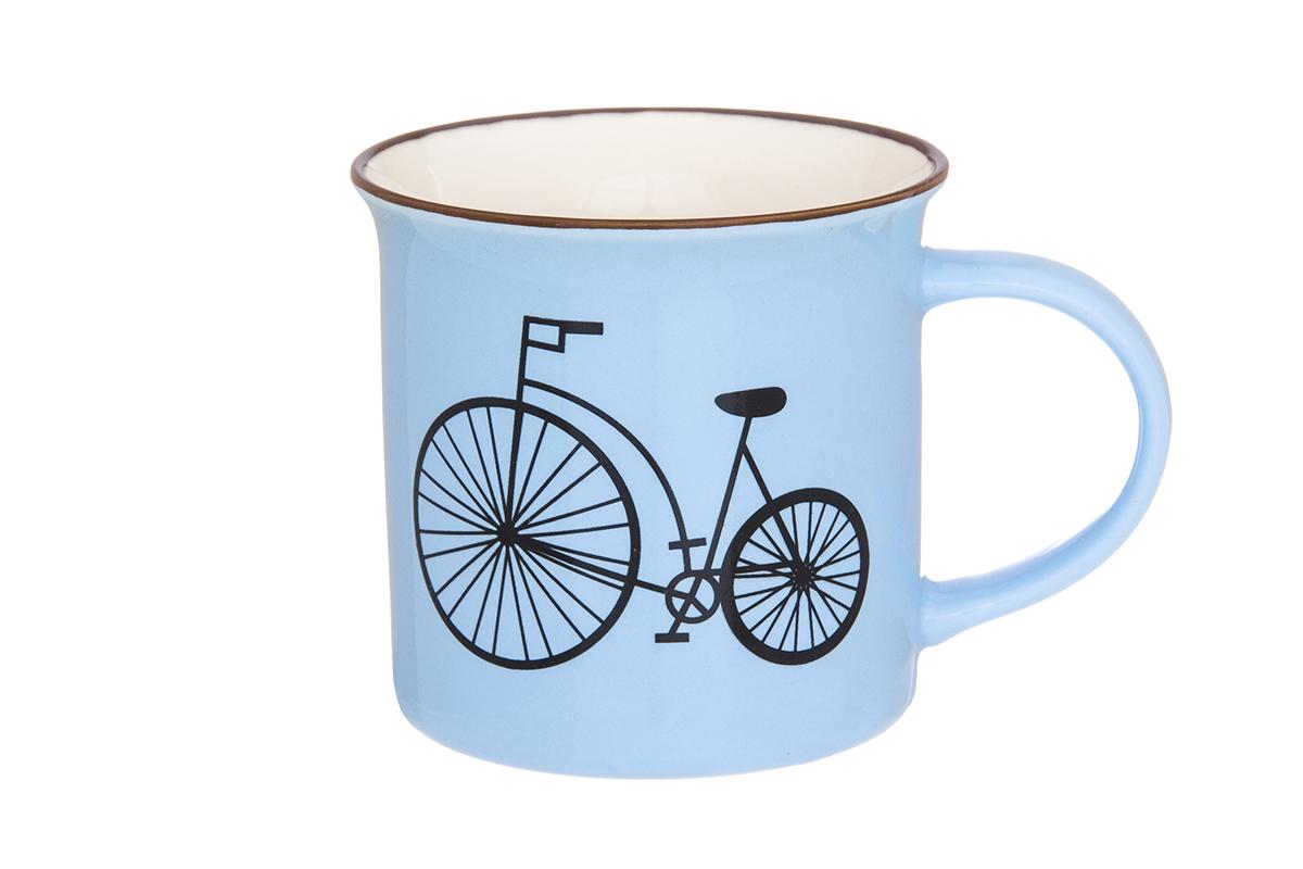 Кружка Elan Gallery Велосипед, цвет: голубой, 210 мл130001Фарфоровая кружка классической формы объемом 210 мл с удобной ручкой. Подходят для любых горячих и холодных напитков, чая, кофе, какао.