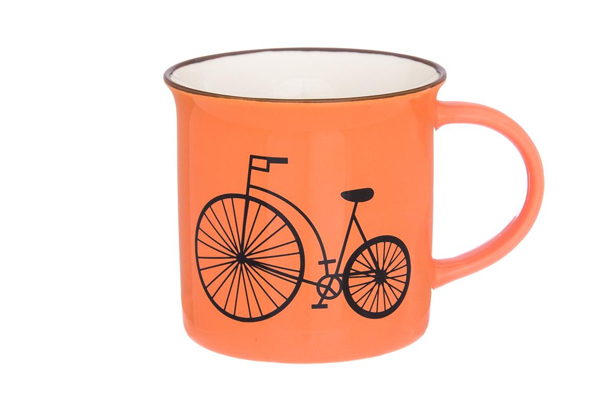 Кружка Elan Gallery Велосипед, цвет: оранжевый, 210 мл130003Фарфоровая кружка классической формы объемом 210 мл с удобной ручкой. Подходят для любых горячих и холодных напитков, чая, кофе, какао.