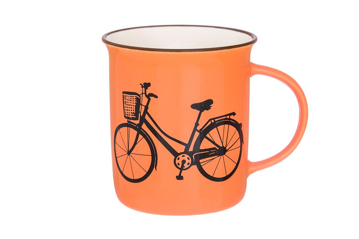 Кружка Elan Gallery Велосипед, цвет: оранжевый, 320 мл130006Фарфоровая кружка классической формы объемом 320 мл с удобной ручкой. Подходят для любых горячих и холодных напитков, чая, кофе, какао.