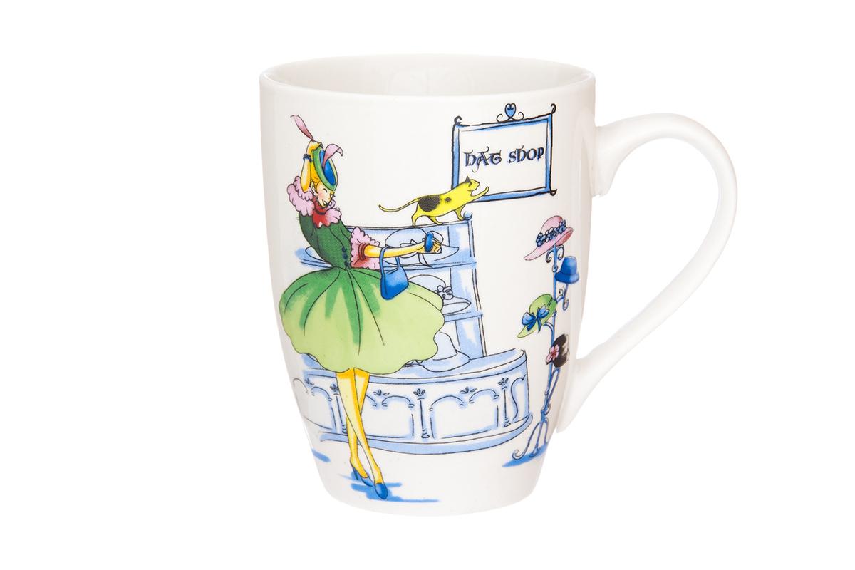 Кружка Elan Gallery Модница, 370 мл115610Кружка классической формы с удобной ручкой выполнена из высококачественного фарфора. Подходят для любых горячих и холодных напитков, чая, кофе, какао. Изделие имеет подарочную упаковку, поэтому станет желанным подарком для любимого человека и друга! Объём кружки: 370 мл.