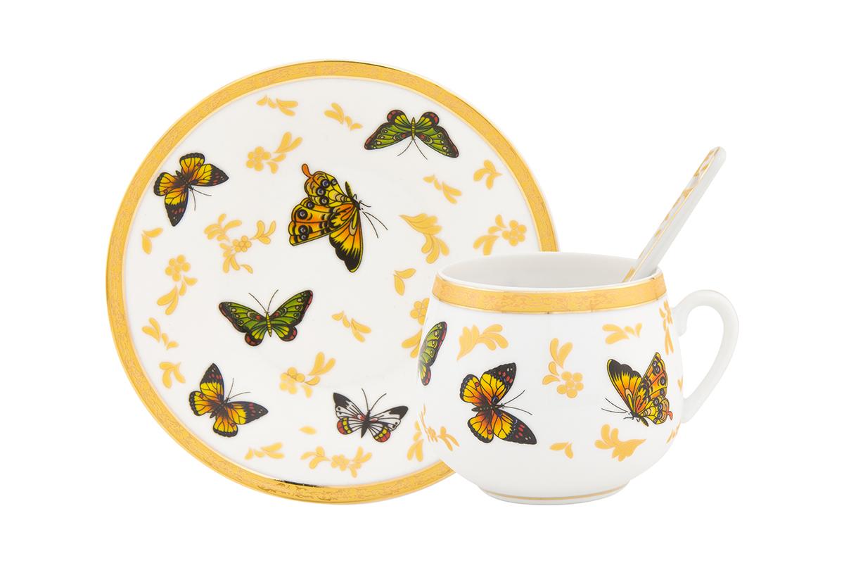 Пара кофейная Elan Gallery Бабочки, с ложкой, 130 мл115610Кофейный набор на 1 персону понравится любителям кофе. В комплекте 1 чашка объемом 130 мл, 1 блюдце и ложка. Соберите всю коллекцию предметов сервировки Бабочки и Ваши гости будут в восторге! Изделие имеет подарочную упаковку, поэтому станет желанным подарком для Ваших близких!