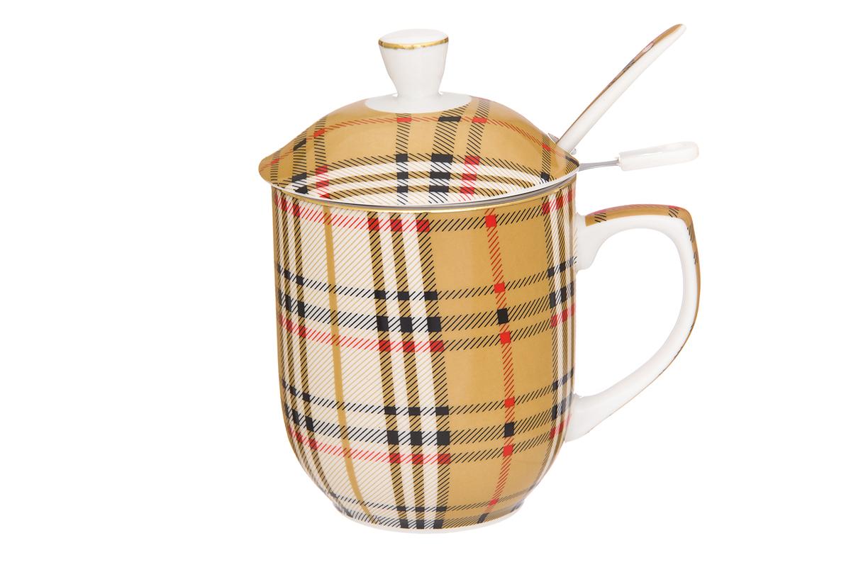 Кружка Elan Gallery Клетка, с ложкой и ситом, 320 млVT-1520(SR)Классическая кружка для заваривания чая. В комплекте кружка, ложка, крышка, металлическое сито. Изделие имеет подарочную упаковку, поэтому станет желанным подарком для Ваших близких! Объем кружки: 320 мл.