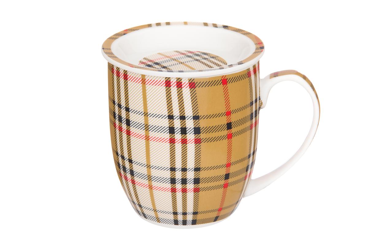 Кружка Elan Gallery Клетка, с розеткой, 380 мл115510Классическая кружка для заваривания чая. В комплекте кружка, ложка, крышка, металлическое сито. Изделие имеет подарочную упаковку, поэтому станет желанным подарком для Ваших близких! Объем кружка: 320 мл.