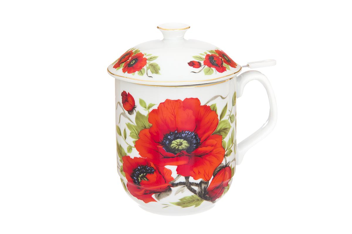 Кружка Elan Gallery Маки, с ситом, 480 мл730675Классическая кружка Elan Gallery Маки для заваривания чая выполнена из высококачественного фарфора. В комплекте кружка, металлическое сито, крышка. Изделие имеет подарочную упаковку, поэтому станет желанным подарком для Ваших близких! Объем кружки: 480 мл.