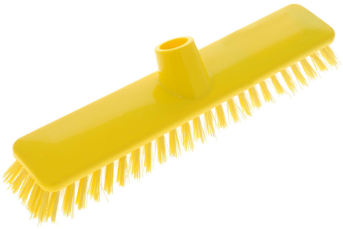 Щетка для пола Хозяюшка Мила Ирис, цвет: желтый, белый, без ручки. 1904319043_желтый, белыйЩетка для пола Хозяюшка Мила Ирис изготовлена из пластика. Жесткая щетина из полипропилена, без расщепления на волокна, идеально подходит для уборки пола. Может использоваться как в домашних, так и промышленных целях. Щетка долговечна и устойчива к погодному воздействию. Универсальная резьба подходит ко всем видам ручек. Щетка станет незаменимым помощником по хозяйству. Размер щетки: 29 х 6 см. Длина ворса: 2,5 см. Диаметр резьбы: 2 см.