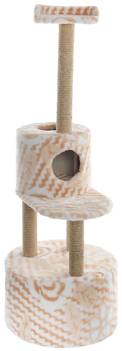 Домик-когтеточка Меридиан, круглый, с площадкой и полкой, цвет: белый, бежевый, 55 х 50 х 147 смД551ЦвДомик-когтеточка Меридиан выполнен из высококачественных материалов. Изделие предназначено для кошек. Оно включает в себя 2 домика разных размеров и 2 полки. Изделие обтянуто искусственным мехом, а столбики изготовлены из джута. Ваш домашний питомец будет с удовольствием точить когти о специальные столбики. Места хватит для нескольких питомцев. Домик-когтеточка Меридиан принесет пользу не только вашему питомцу, но и вам, так как он сохранит мебель от когтей и шерсти. Общий размер: 55 х 50 х 147 см. Размер большого домика: 50 х 50 х 29 см. Размер малого домика: 33 х 33 х 29 см. Размер нижней полки: 55 х 34 см. Размер верхней полки: 27 х 27 см.