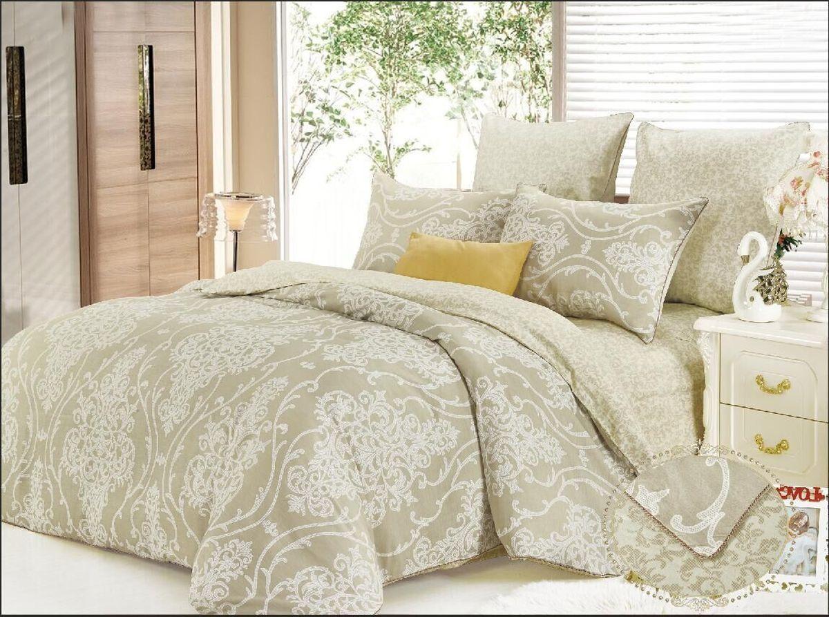 Комплект постельного белья KAZANOV.A. Отис, цвет: бежевый, семейный, сатинR23-7Е-906-ZКомплекты постельного белья «KAZANOV.A.» из сатина имеют превосходные характеристики: 100% сатин высокого качества, шелковистый блеск, повышенная прочность, насыщенный цвет. Натуральные длинные волокна хлопка, которые используются в производстве материала для постельного белья, имеют высокую плотность, что и увеличивает износостойкость комплектов. Для нанесения рисунка на ткани используется реактивная и принтерная печать из современных экологически безопасных красителей. Постельное белье комфортно для тела, гипоаллергенно, легко впитывает частички влаги, за счёт чего оно хорошо охлаждает, кожа дышит, сон становится крепким и здоровым. Великолепно выполнена строчка, отделка витым кантом, молния на всех наволочках и по ширине пододеяльника, точно подобранный материал ткани-компаньона, простота в эксплуатации- все эти свойства превратили традиционный комплект постельного белья в изысканное произведение искусства. Подарите себе здоровый и спокойный сон вместе с комплектами постельного...