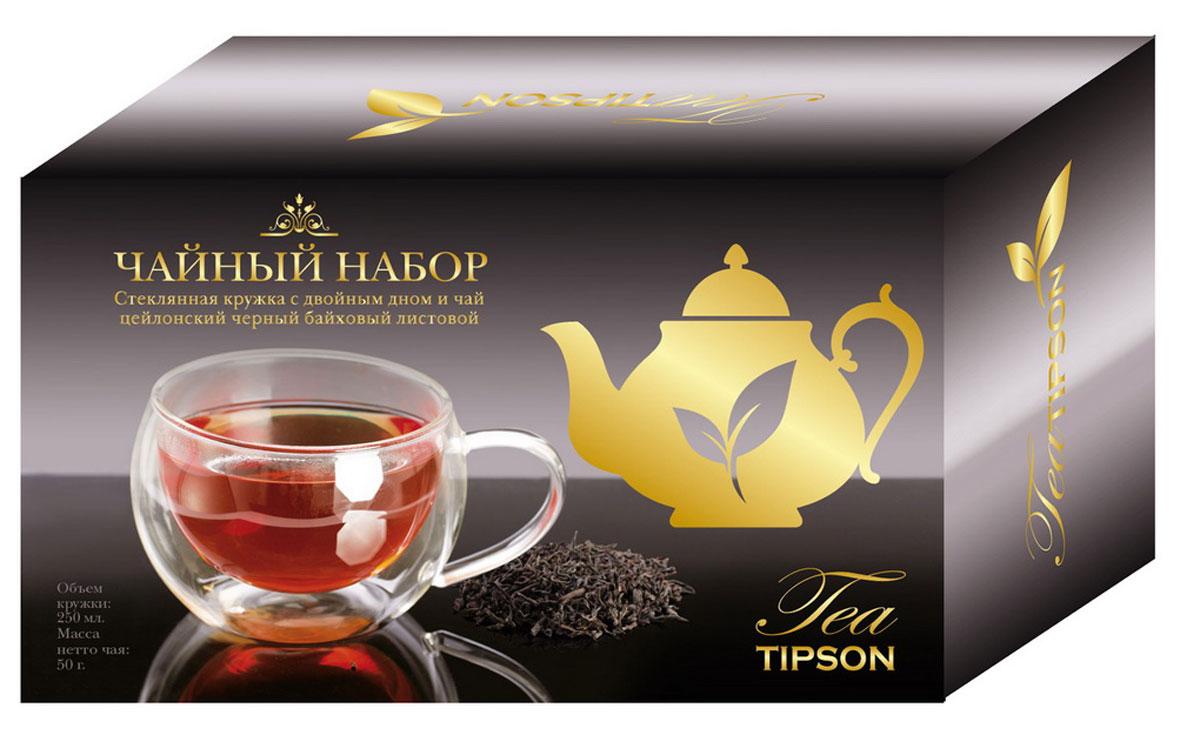 Tipson Подарочный набор Империал №1 черный листовой чай, 50 г + кружка10079-00Набор Tipson Империал №1 включает в себя упаковку цейлонского черного чая и элегантную кружку из стекла с двойным дном. Набор идеально подойдет настоящим ценителям классического черного чая и согреет душу уютными семейными вечерами. Кружка с двойным дном изготовлена из стекла. Объем кружки - 0,25 л. Срок годности не ограничен, страна изготовления кружки - Китай.