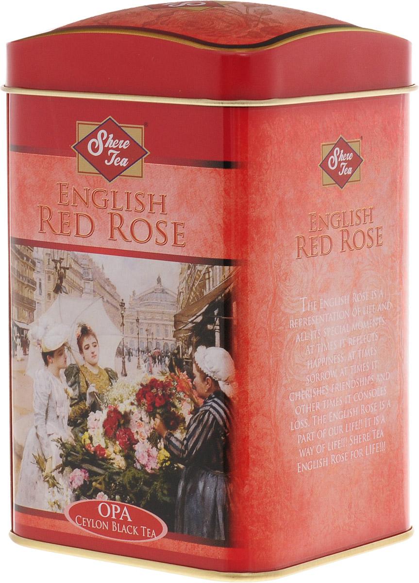 Shere Tea Английская красная роза чай черный листовой, 100 г0120710Стандарт ОРА - крупный лист. Листья для этого чая собирают с кустов после того, как почки полностью раскрываются. Для этого сорта собирают первый и второй лист с ветки. В сухой заварке листья должны быть крупными (от 8 до 15 мм), однородными, хорошо скрученными. Этот сорт практически не содержит типсов. Сорт имеет достаточно высокое содержание ароматических масел, и поэтому настой чая очень ароматен. Также этот чай характерен вкусом с горчинкой благодаря большому содержанию дубильных веществ. Кофеина в этом чае немного меньше, так как в нем используют более взрослые листы. Чай имеет яркий, прозрачный, интенсивный настой. Аромат чая полный, приятный, выражен достаточно ярко.Знак в виде Льва с 17 пятнышками на шкуре - это гарантия Бюро Цейлонского Чая на соответствие чая высокому стандарту качества, установленному Правительством и упакованному только в пределах Шри-Ланки.