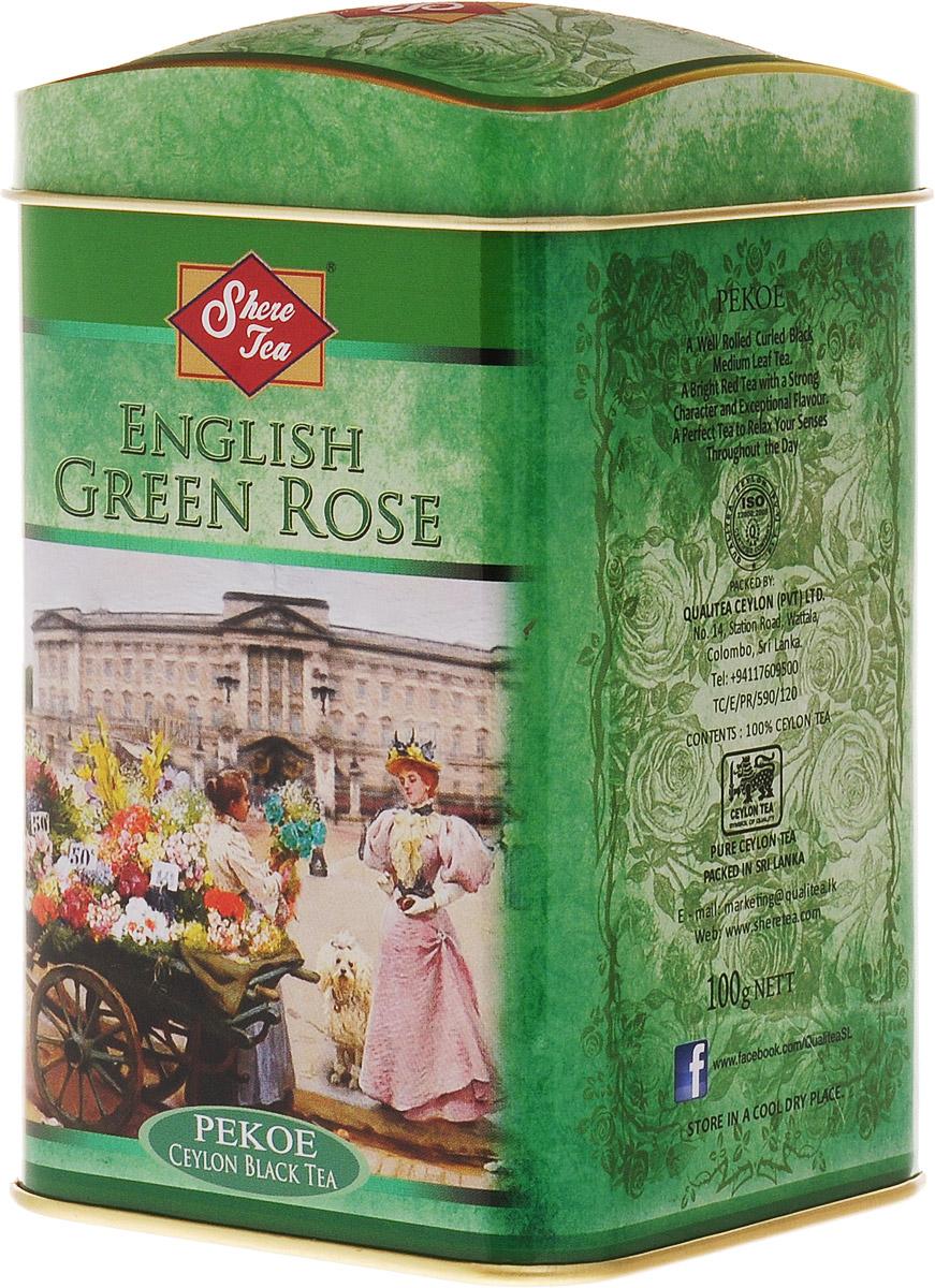Shere Tea Английская зеленая роза чай черный листовой, 100 г0120710Стандарт РЕКОЕ - ровный крупнолистовой чай, скрученный в форме мелкой гальки. Этот чай состоит из более коротких и более взрослых, чем OP листьев. В сбор идут, как правило, вторые листья от почки. Поэтому в этом чае меньше содержание кофеина, чем в ОР, но зато он имеет более выраженную горчинку во вкусе, что нравится многим любителям чая. Чем более взрослый лист, тем в нем больше танина и дубильных веществ, которые и дают эту самую горчинку. Чай имеет яркий, прозрачный и интенсивный настой. Приятный с терпкостью вкус с хорошо выраженным ароматом.Знак в виде Льва с 17 пятнышками на шкуре - это гарантия Цейлонского Чайного Бюро на соответствие чая высокому стандарту качества, установленному Правительством и упакованному только в пределах Шри-Ланки.