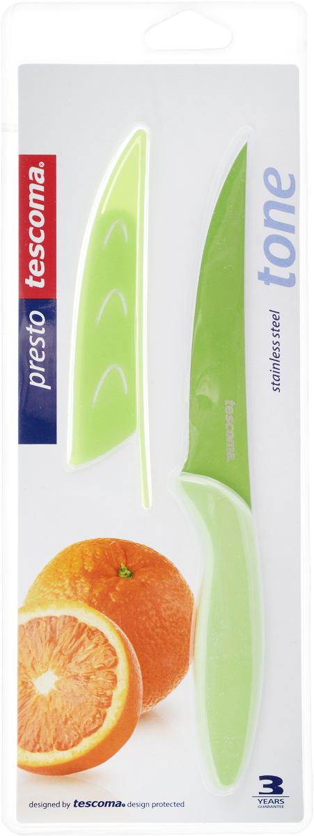 Нож универсальный Tescoma Presto, с чехлом, цвет: зеленый, длина лезвия 12 см863082_зеленыйУниверсальный нож Tescoma Presto предназначен для нарезки мяса, овощей, фруктов и других продуктов. Лезвие выполнено из высококачественной нержавеющей стали с антиадгезивным покрытием, а ручка из прочного пластика. Продукты не прилипают к лезвию. Изделие легко чиститься. В комплект входит защитный чехол для бережного хранения. Можно мыть в посудомоечной машине, не рекомендуется использовать металлические губки и абразивные чистящие средства. Общая длина ножа: 22,8 см.