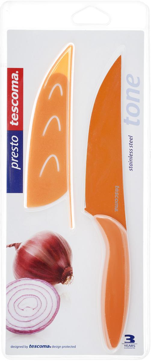 Нож универсальный Tescoma Presto, с чехлом, цвет: оранжевый, длина лезвия 13 смCM000001328Кухонный нож с непристающим лезвием Tescoma Presto, цвет: оранжевыйУниверсальный нож Tescoma Presto предназначен для нарезки мяса, овощей, фруктов и других продуктов. Лезвие выполнено из высококачественной нержавеющей стали с антиадгезивным покрытием, а ручка из прочного пластика. Продукты не прилипают к лезвию. Изделие легко чиститься. В комплект входит защитный чехол для бережного хранения. Можно мыть в посудомоечной машине, не рекомендуется использовать металлические губки и абразивные чистящие средства. Общая длина ножа: 22,8 см.