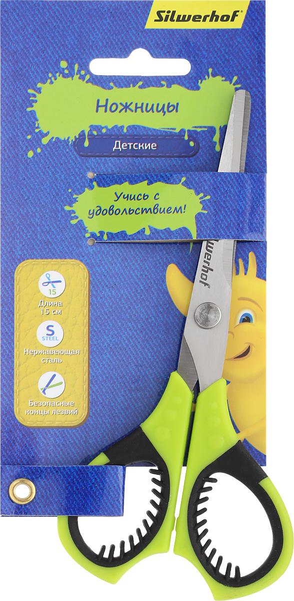 Silwerhof Ножницы детские Джинсовая коллекция цвет салатовый 15 смFS-54104Детские ножницы Silwerhof Джинсовая коллекция предназначены для резки бумаги, картона, фотографий.Ножницы - отличное дополнение творческого арсенала вашего ребенка. Они выполнены из прочного металла и дополнены удобными пластиковыми ручками с мягкими вставками. Изделие отлично подойдет для изготовления различных поделок и аппликаций. Закругленные концы лезвий уберегут малыша от нечаянных травм. Яркая расцветка модели позволит быстро найти ножницы во множестве предметов для творчества. Продуманный до мелочей аксессуар разработан специально для детей школьного возраста.