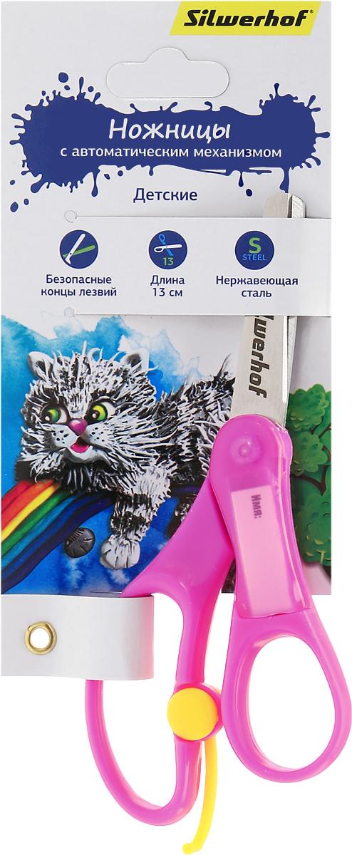 Silwerhof Ножницы детские Пластилиновая коллекция цвет розовый 13 см453072_розовыйНожницы детские Silwerhof Пластилиновая коллекция с закругленными концами лезвий предназначены для резки бумаги, картона и фотографий. Прочность и качественная заточка обеспечивают эффективную работу лезвий по всей длине. Лезвия выполнены из нержавеющей стали. Ножницы оснащены автоматическим механизмом, который поможет снять напряжение с кисти ребенка во время работ, имеют удобные ручки.