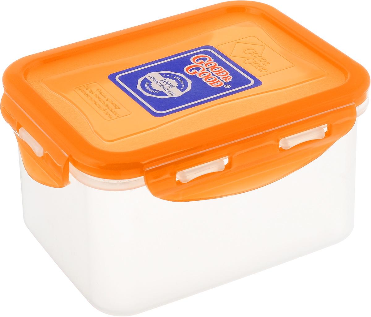 Контейнер пищевой Good&Good, цвет: прозрачный, оранжевый, 630 мл. B/COL 02-2B/COL 02-2Прямоугольный контейнер Good&Good изготовлен из высококачественного полипропилена и предназначен для хранения любых пищевых продуктов. Благодаря особым технологиям изготовления, лотки в течение времени службы не меняют цвет и не пропитываются запахами. Крышка с силиконовой вставкой герметично защелкивается специальным механизмом. Контейнер Good&Good удобен для ежедневного использования в быту. Можно мыть в посудомоечной машине и использовать в микроволновой печи. Размер контейнера (с учетом крышки): 13 х 10 х 8,5 см.