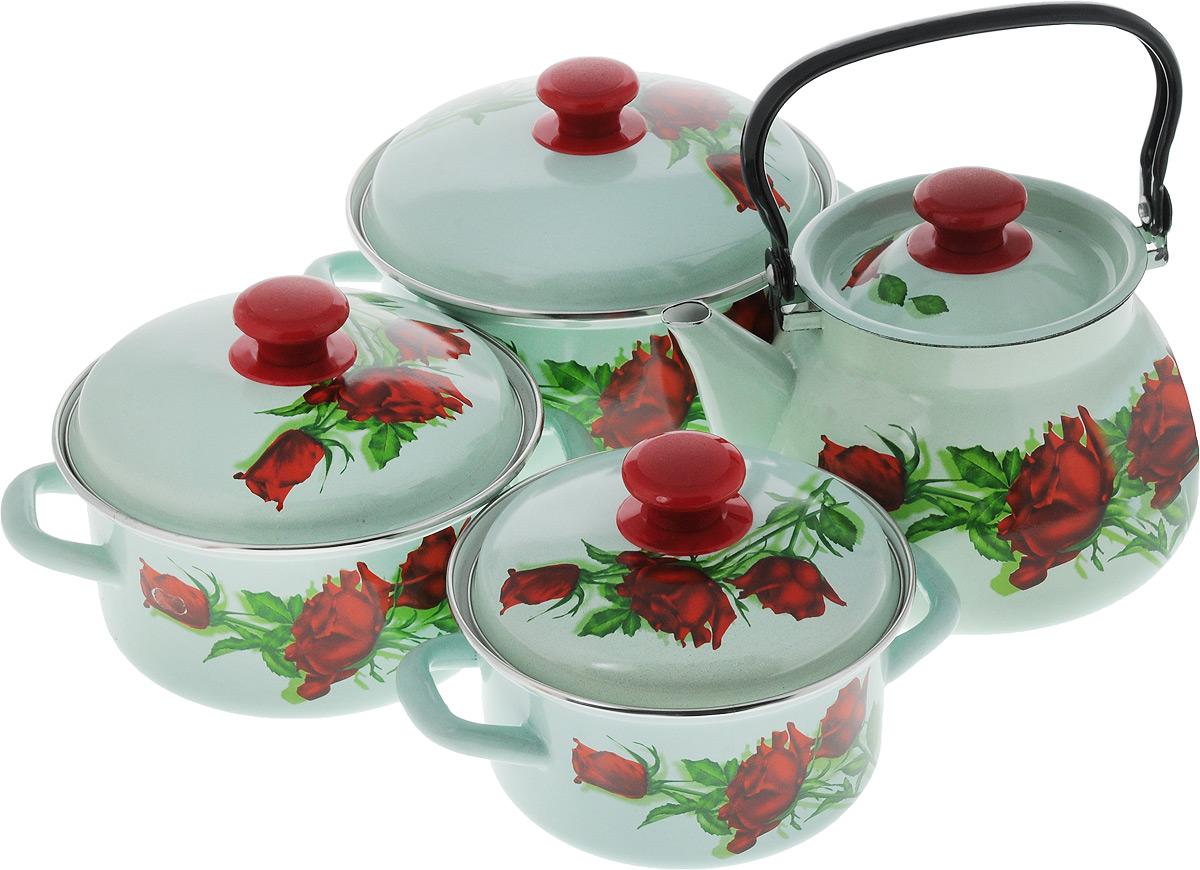 Набор посуды КМК Андорра, 8 предметовАндорраНабор посуды КМК Андорра, состоящий из трех кастрюль и чайника с крышками, изготовлен из высококачественной стали с эмалированным покрытием и оформлен изображением цветов. Эмалевое покрытие, являясь стекольной массой, не вызывает аллергии и надежно защищает пищу от контакта с металлом. Внутренняя поверхность идеально ровная, что значительно облегчает мытье. Покрытие устойчиво к механическому воздействию, не царапается и не сходит, а стальная основа практически не подвержена механической деформации, благодаря чему срок эксплуатации увеличивается. Кастрюли и чайник оснащены крышками, выполненными из стали с эмалированным покрытием. Крышки плотно прилегают к краям кастрюль, предотвращая проливание жидкости и сохраняя аромат блюд, и имеют удобные пластиковые ручки. Подходят для всех типов плит, включая индукционные. Можно мыть в посудомоечной машине. Высота стенок кастрюль: 9,5 см, 10 см, 11,5 см. Диаметр кастрюль (по верхнему краю):...