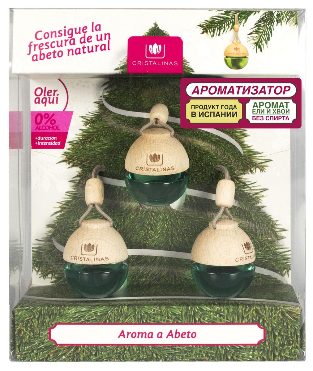 Ароматизатор автомобильный Cristalinas Auto, подвесной, новогодняя ель, 3 шт313209Испанский ароматизатор Cristalinas окутает вас ароматом настоящей ели. Этот запах знаком и любим всеми с детства, ведь он переносит вас в атмосферу теплого семейного праздника. Слегка горьковатый, прохладный, напористый аромат еловой хвои сочетает в себе благородное звучание парфюмерных нот и очарование хвойного леса. Способ применения: 1. Открутите деревянную крышку и извлеките колпачок. 2. Закрутите деревянную крышку, повесьте на ёлку затянув шнурок. 3. Закрутите деревянную крышку, повесьте на зеркало заднего вида, затянув во избежание контакта с лобовым стеклом во время движения. 4. Переверните ёмкость и держите в таком положении не дольше 5 сек. Способ хранения: хранить в недоступном для детей месте. Меры предосторожности: не употреблять внутрь. Избегать попадания в глаза и прямого контакта с кожей (может вызвать аллергическую реакцию). При попадании на кожу тщательно промыть ее проточной водой с мылом. При попадании в глаза промыть их в течение...