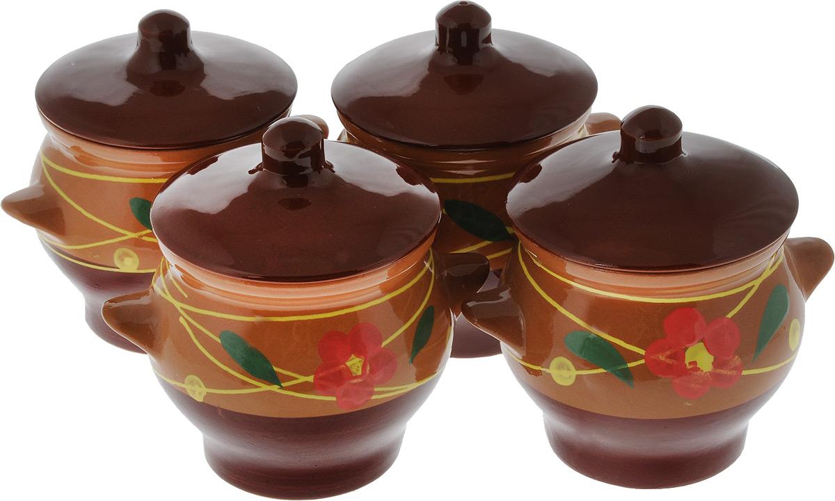 Набор горшочков для запекания Борисовская керамика Стандарт, с крышками, цвет: коричневый, желтый, красный, 700 мл, 4 штОБЧ00000085_цветок розовыйНабор Борисовская керамика Стандарт состоит из 4 горшочков для запекания с крышками. Каждый предмет набора выполнен из высококачественной керамики. Уникальные свойства красной глины и толстые стенки изделия обеспечивают эффект русской печи при приготовлении блюд. Блюда, приготовленные в керамическом горшке, получаются нежными и сочными. Вы сможете приготовить мясо, сделать томленые овощи и все это без капли масла. Это один из самых здоровых способов готовки. Можно использовать в духовке и микроволновой печи. Диаметр горшка (по верхнему краю): 11 см. Высота стенок: 11,5 см. Объем: 700 мл.