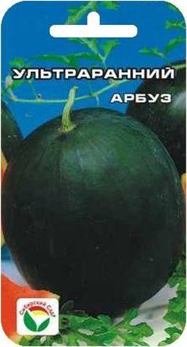 Семена Сибирский сад Арбуз. Ультраранний, 10 шт10024Скороспелый урожайный сорт, устойчивый к пониженным температурам. От всходов до начала плодоношения проходит в среднем 80 дней, созревание быстрое. Растение компактное с ограниченным развитием боковых побегов. Плоды круглые, темно-зеленые, с более темными полосками, массой 4-6 кг. Мякоть ярко-красная, нежная , зернистая, очень сладкая, с малым количеством семян. Особенности агротехники: культура тепло- и светолюбива. Посев на рассаду в 3 декаде апреля, в отдельные горшочки или на постоянное место при прогревании почвы до +12-15°С. Семена, предварительно замоченные на сутки в воде, высевают на глубину 4 см. Всходы появляются на 7-10 день. Высадка в грунт, когда минует угроза возвратных заморозков. Уход заключается в умеренном поливе, рыхлении, подкормках. Схема посадки: 40х50 см.