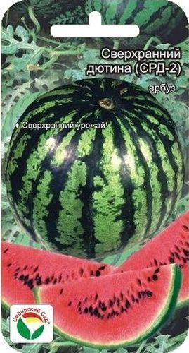 Семена Сибирский сад Арбуз. Сверх ранний Дютина-2, 4 шт19201Сорт ультраскороспелый. От всходов до созревания 55-60 дней. Плоды удлиненно-округлые, массой 4-5 кг. Поверхность плода гладкая, слаборебристая, с узкими темно-зелеными шиповатыми полосами на светло-зеленом фоне. Кора толстая, твердая. Мякоть красная, сочная, сладкая. Транспортабельность высокая, лежкость средняя. Сорт устойчив к слабовирулентным расам антракноза, вынослив к мучнистой росе и бахчевой тле. Рекомендуется для возделывания на поливе, подходит для выращивания в защищенном грунте.Урожайность при орошении: 30-35 т/га.