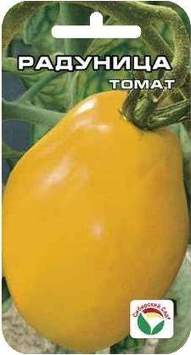 Семена Сибирский сад Томат. Радуница, 20 шт9123Среднеспелый сорт с крупными золотисто-оранжевыми плодами в виде сплюснутой груши. Растение среднерослое, высотой до 1,6 м, первое соцветие закладывается над 7-9 листом, последующие - через 3 листа. Соцветие компактное, с 4-5 крупными, тяжелыми плодами солнечного цвета. Масса плодов в основном 200-250 г, некоторые до 350 г. Плоды отличаются повышенным содержанием сухих веществ, сахаров. Рекомендуются для питания людей, имеющих пищевую аллергию на красные томаты. Рекомендуются для употребления в свежем виде и в домашней кулинарии. Урожайность сорта - до 3,5 кг с одного растения.Посев на рассаду проводят за 50-60 дней до высадки на постоянное место. Перед посадкой семена замачивают и высевают на глубину 1 см по схеме 3x1,5 см. Оптимальная постоянная температура прорастания семян 23-25°С. Пикировка производится после появления второго настоящего листа. При высадке в грунт на 1 м2 размещают 3-4 растения. Выращивают в 1-2 стебля с подвязкой и пасынкованием. Сорт хорошо реагирует на полив и подкормки комплексными минеральными удобрениями.Для ускорения процесса всхожести семян, оздоровления растений, улучшения завязываемости плодов рекомендуется пользоваться специально разработанными стимуляторами роста и развития растений.