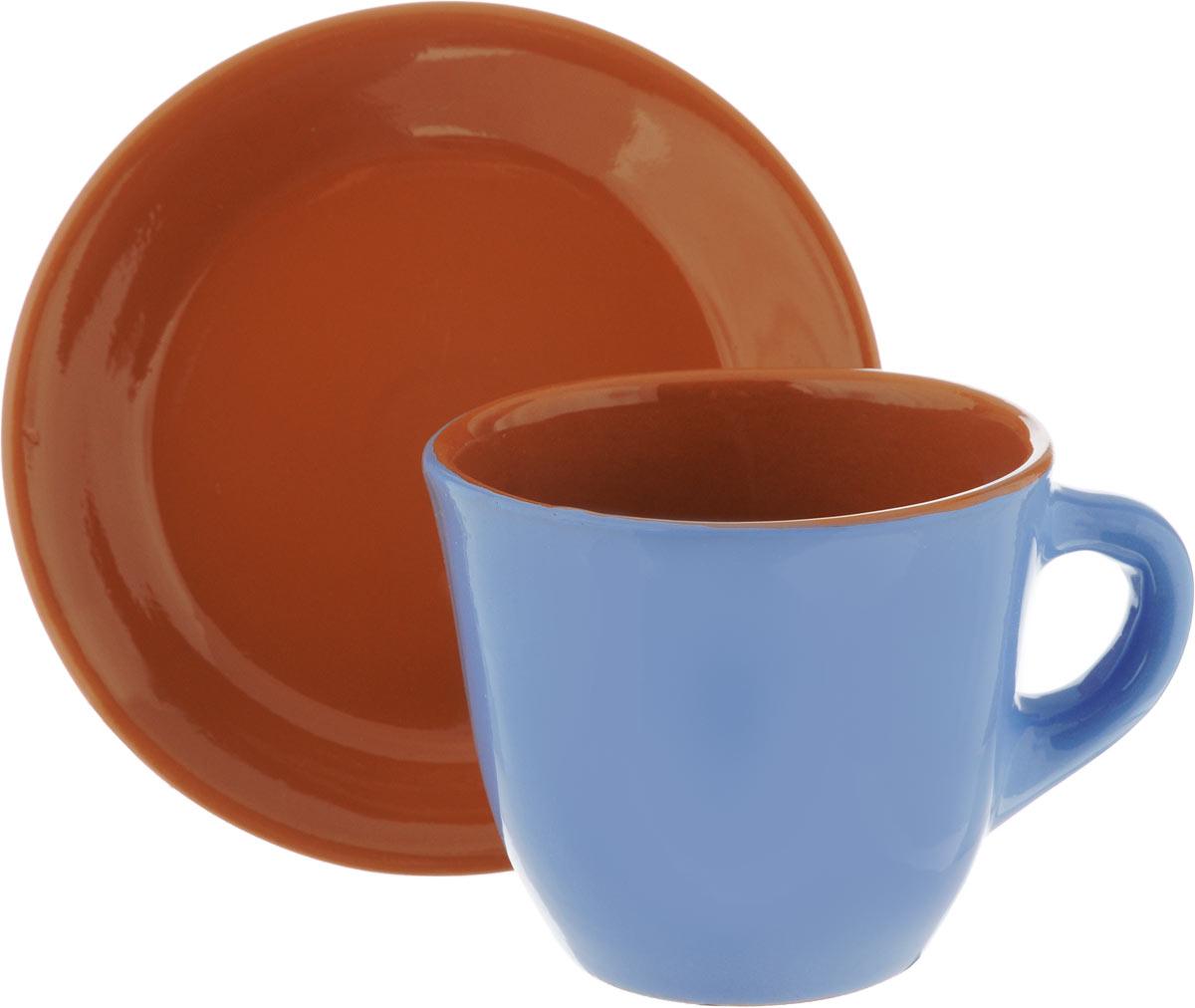 Чайная пара Борисовская керамика Cтандарт, цвет: голубой, коричневый, 2 предметаОБЧ00000637_голубой, коричневыйЧайная пара Борисовская керамика Cтандарт состоит из чашки и блюдца, изготовленных из высококачественной керамики. Такой набор украсит ваш кухонный стол, а также станет замечательным подарком к любому празднику. Можно использовать в микроволновой печи и духовке. Диаметр чашки (по верхнему краю): 10 см. Высота чашки: 8,5 см. Диаметр блюдца (по верхнему краю): 15 см. Высота блюдца: 2,5 см. Объем чашки: 300 мл