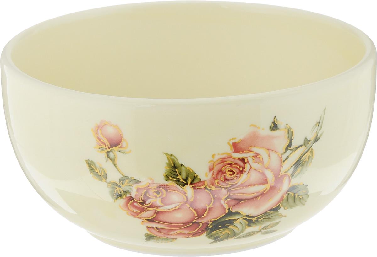 Чаша Loraine Розы, 580 мл. 2168521685Чаша Loraine Розы изготовлена из высококачественного доломита с глазурованным покрытием и декорирована красивым цветочным рисунком. Чаша используется для подачи бульонов, супов и других блюд. Благодаря качеству исполнения и красивому дизайну изделие станет отличным приобретением для вашей кухни. Можно использовать в микроволновой печи и мыть в посудомоечной машине.