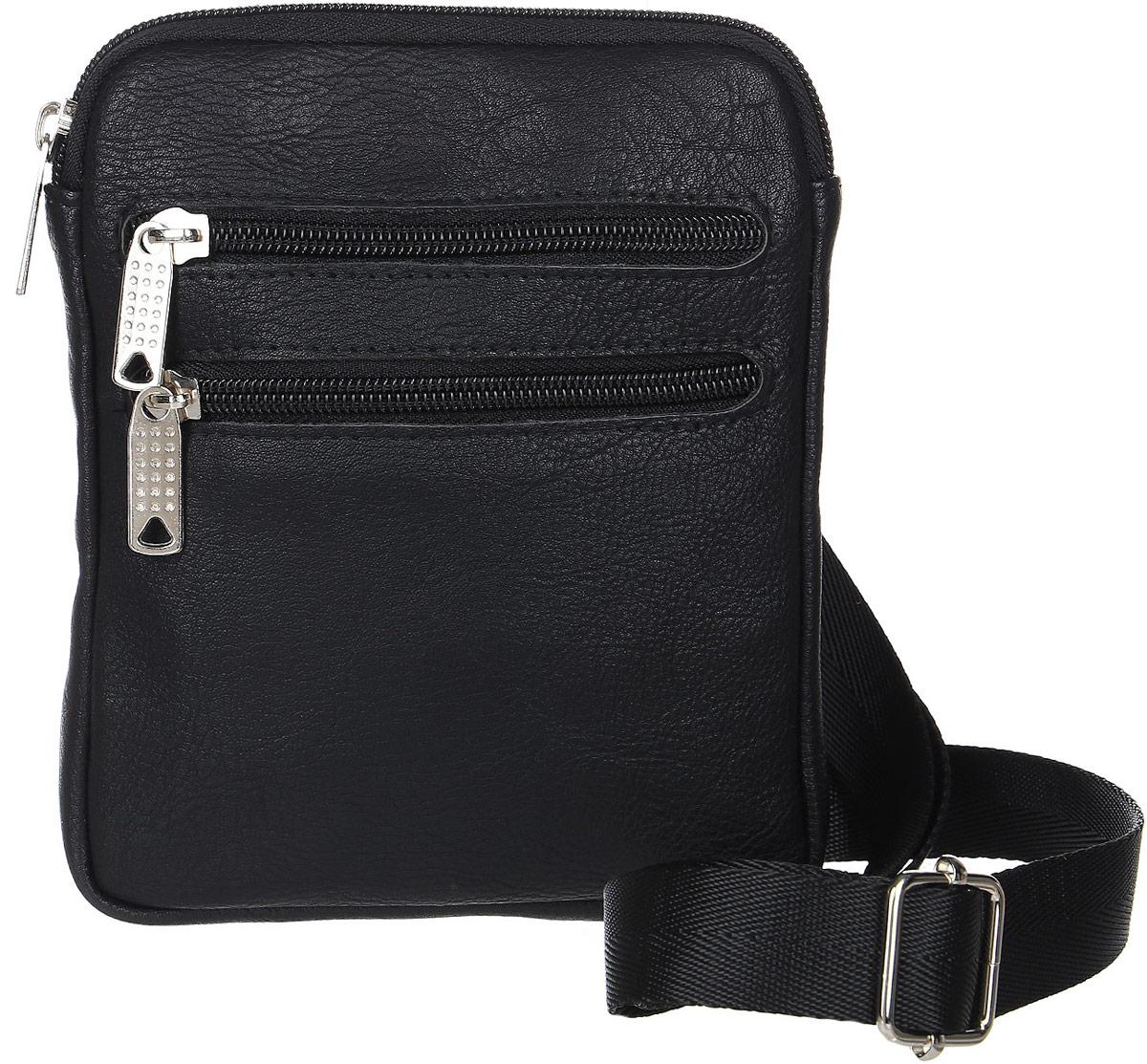 Сумка мужская Аntan, цвет: черный. 4670018861281101057Стильная мужская сумка Аntan выполнена из искусственной кожи. Сумка имеет одно основное отделение, закрывающееся на застежку-молнию. Внутри модель имеет прорезной карман на застежке-молнии и накладной открытый карман. Задняя и передняя сторона сумки дополнены врезными карманами на молнии. Изделие оснащено плечевым ремнем.