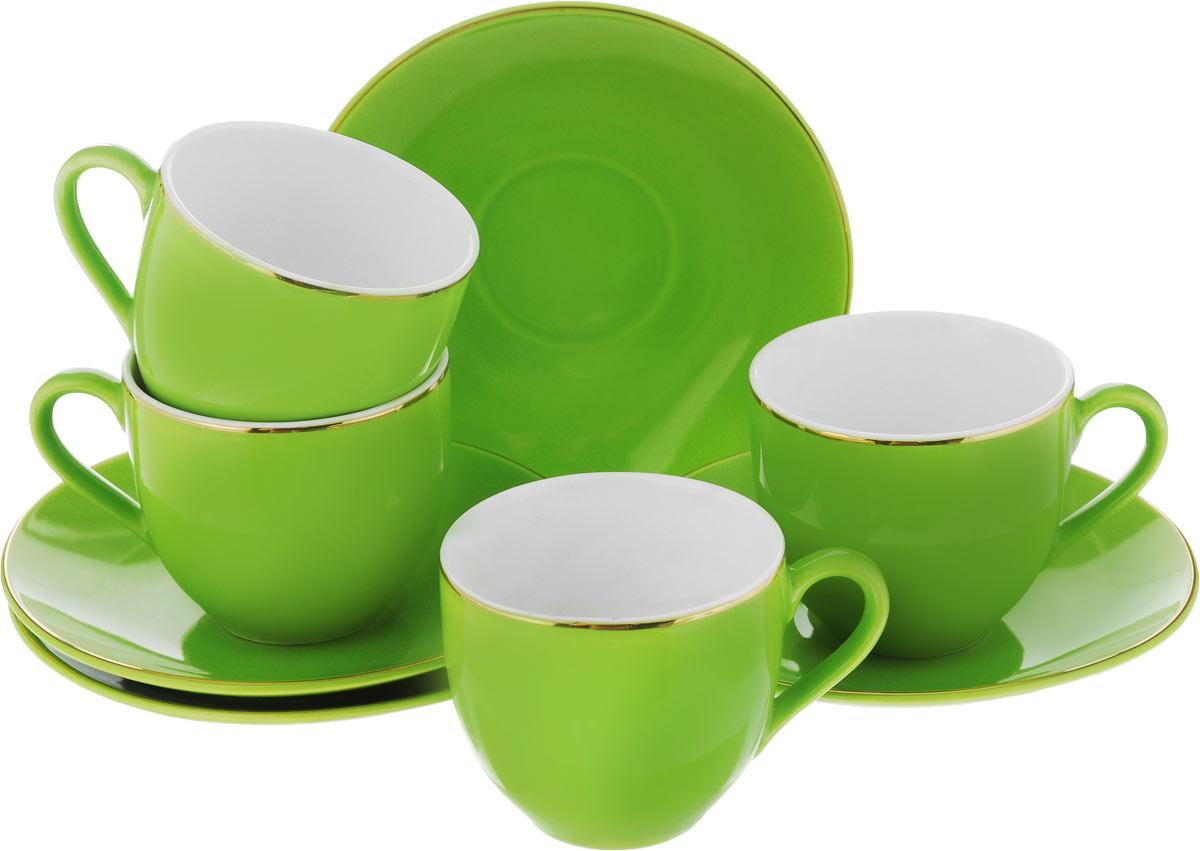 Набор кофейный Loraine, цвет: зеленый, 8 предметов24752Кофейный набор Loraine состоит из 4 чашек и 4 блюдец. Изделия выполнены из высококачественного фарфора, имеют яркий дизайн и классическую круглую форму. Такой набор прекрасно подойдет как для повседневного использования, так и для праздников. Набор Loraine - это не только яркий и полезный подарок для родных и близких, но и великолепное дизайнерское решение для вашей кухни или столовой. Диаметр чашки (по верхнему краю): 6 см. Высота чашки: 5,5 см. Диаметр блюдца (по верхнему краю): 11 см. Высота блюдца: 1,7 см. Объем чашки: 80 мл.