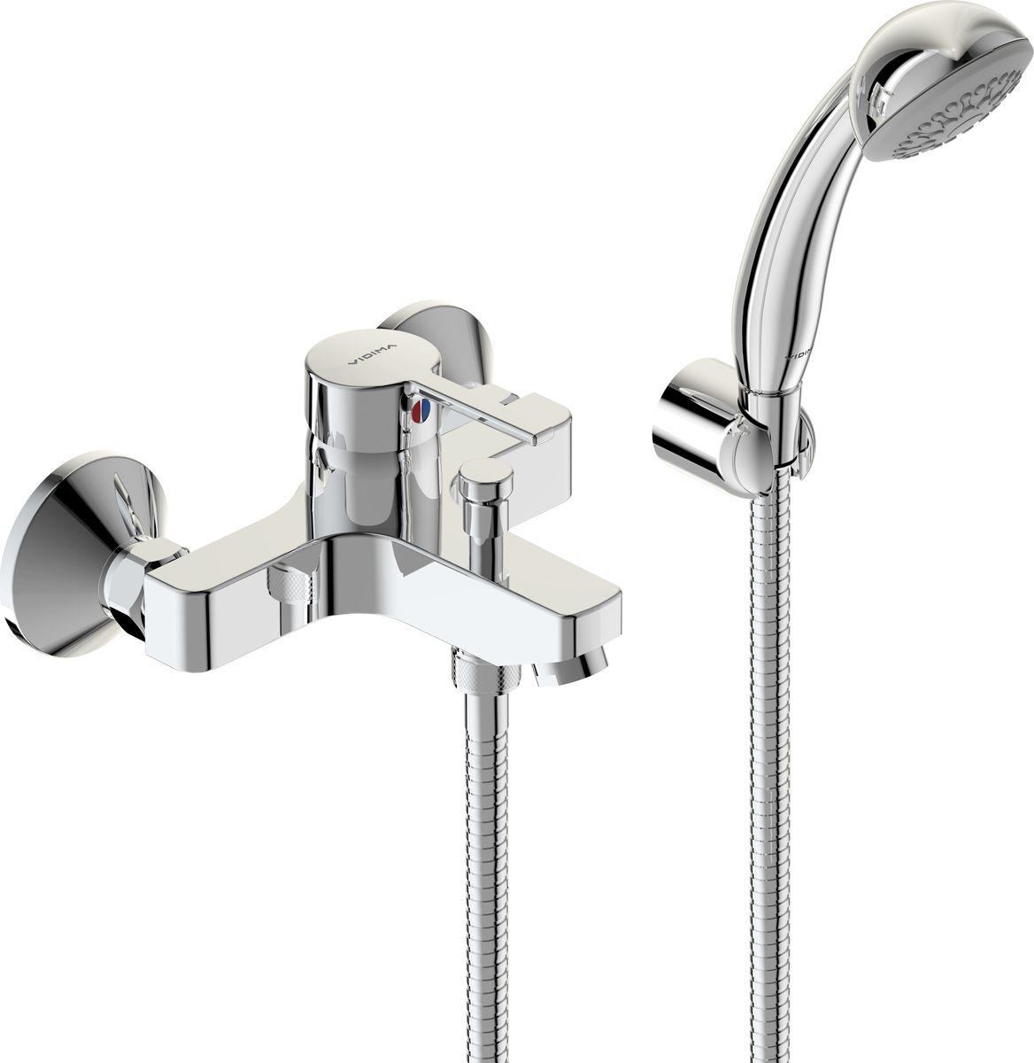 Смеситель для ванны и душа Vidima Логик, настенный, литой излив 152-157 мм, лейка 70 мм, цвет: хромBA279AAЛогик смеситель для ванны/душа, настенный, литой излив 152-157мм, лейка 70мм, держате BA279AA