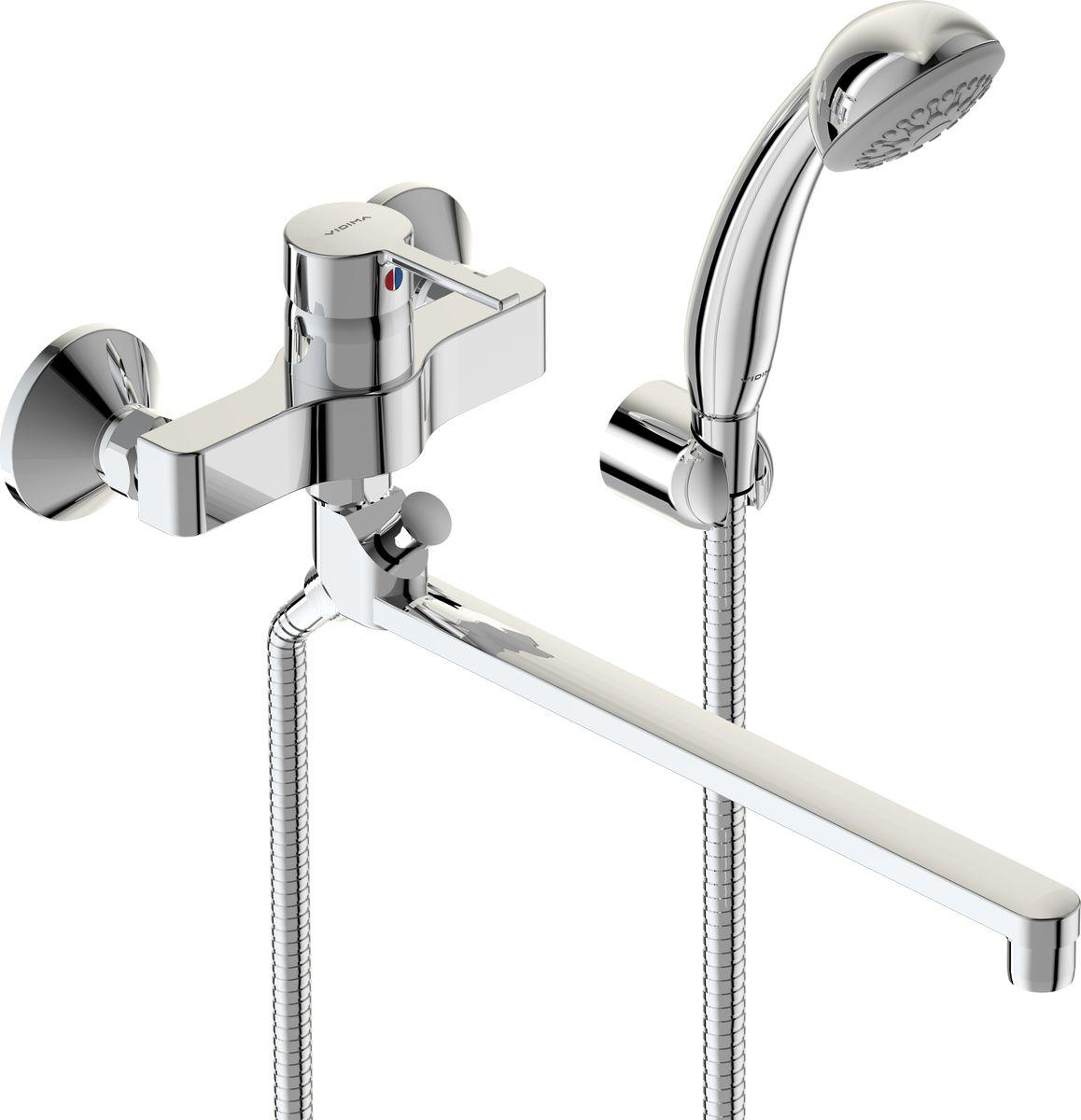 Смеситель для ванны и душа Vidima Логик, настенный, трубчатый поворотный излив 320 мм, цвет: хромBA281AAЛогик смеситель для ванны/душа, настенный, трубчатый поворотный излив 320мм, лейка 70 BA281AA