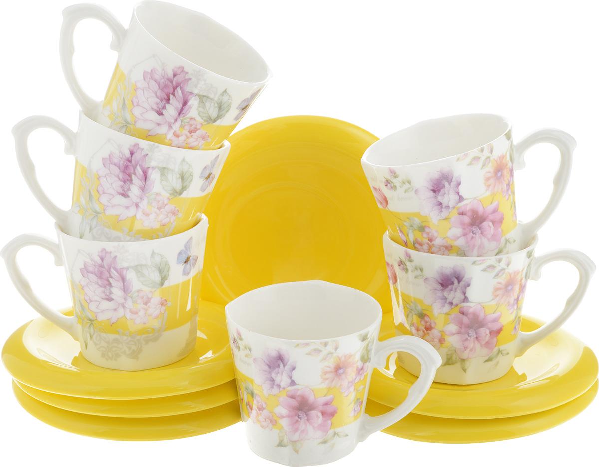 Набор кофейный Loraine, 12 предметов. LR-24722115610Кофейный набор Loraine состоит из 6 чашек и 6 блюдец. Изделия выполнены из высококачественной керамики, имеют яркийдизайн и классическую круглую форму. Такой набор прекрасно подойдет как для повседневного использования, так и для праздников. Набор Loraine - это не только яркий и полезный подарок для родных и близких, но и великолепное дизайнерскоерешение для вашей кухни или столовой. Диаметр чашки (по верхнему краю): 6 см. Высота чашки: 6 см. Высота чашки: 6 см. Диаметр блюдца (по верхнему краю): 9,2 см.Высота блюдца: 1 см.Объем чашки: 100 мл.