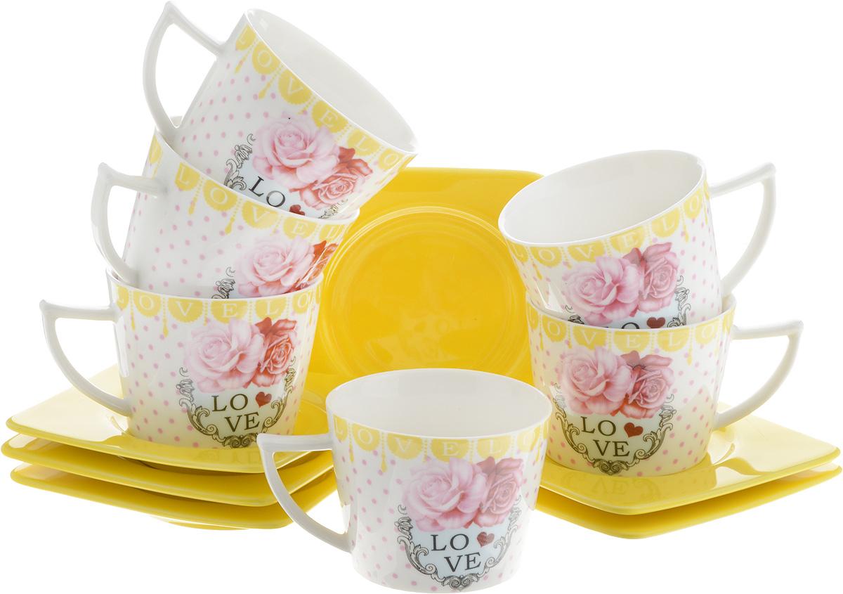 Набор кофейный Loraine Love, 12 предметов. 2471924719Кофейный набор Loraine Love состоит из 6 чашек и 6 блюдец, выполненных из высококачественной керамики. Изящный дизайн придется по вкусу и ценителям классики, и тем, кто предпочитает утонченность и изысканность. Он настроит на позитивный лад и подарит хорошее настроение с самого утра. Набор упакован в стильную подарочную коробку. Внутренняя часть коробки задрапирована белой атласной тканью. Каждый предмет надежно зафиксирован внутри коробки благодаря специальным выемкам. Кофейный набор Loraine Love - идеальный и необходимый подарок для вашего дома и для ваших друзей в праздники, юбилеи и торжества! Он также станет отличным корпоративным подарком и украшением любой кухни. Диаметр чашки (по верхнему краю): 7 см. Высота чашки: 5 см. Объем чашки: 100 мл. Размер блюдца:9,5 х 9,5 х 1 см.