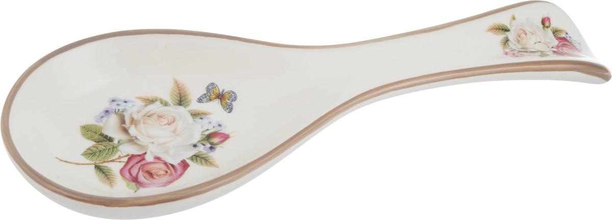 Подставка для ложки Loraine Розы, длина 24,7 см21698Подставка для ложки Loraine Розы изготовлена из прочной доломитовой керамики высокого качества. Данное изделие оформлено красочным рисунком и имеет стильный внешний вид. Подставка предназначена для поддержания чистоты на кухонном столе при приготовлении пищи. Поставьте ее рядом с плитой и кладите на нее ложку, половник или лопатку, которыми вы помешиваете блюда. Можно использовать в микроволновой печи, холодильнике и посудомоечной машине.
