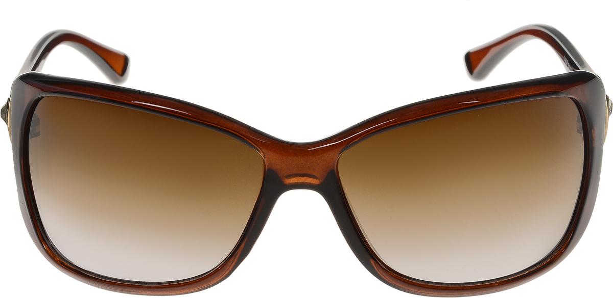 Очки солнцезащитные женские Vittorio Richi, цвет: коричневый. ОС1437с2/17fINT-06501Солнцезащитные очки Vittorio Richi выполнены из высококачественного пластика и металла, декорированы стразами. Пластик используемый при изготовлении линз не искажает изображение, не подвержен нагреванию и вредному воздействию солнечных лучей. Оправа очков легкая, прилегающей формы и поэтому обеспечивает максимальный комфорт. Такие очки защитят глаза от ультрафиолетовых лучей, подчеркнут вашу индивидуальность и сделают ваш образ завершенным.