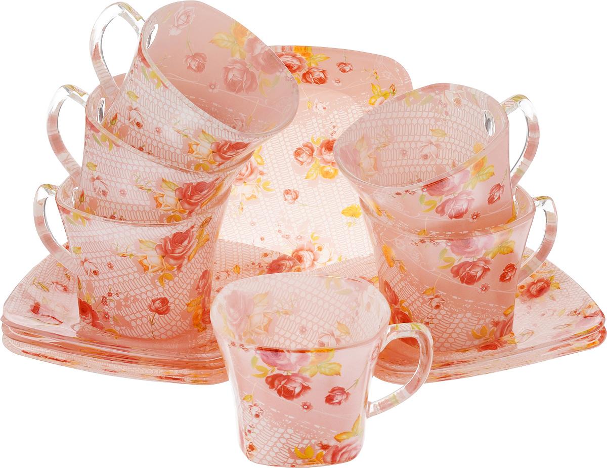 Набор чайный Loraine, цвет: красный, розовый, 12 предметов24128Чайный набор Loraine состоит из шести чашек и шести блюдец, выполненных из стекла. Изделия оформлены ярким рисунком. Изящный набор эффектно украсит стол к чаепитию и порадует вас функциональностью и ярким дизайном. Можно мыть в посудомоечной машине. Размеры чашки (по верхнему краю): 8 х 8 см. Высота чашки: 6,5 см. Объем чашки: 200 мл. Размеры блюдца: 13,2 х 13,2 см. Высота блюдца: 1,5 см.