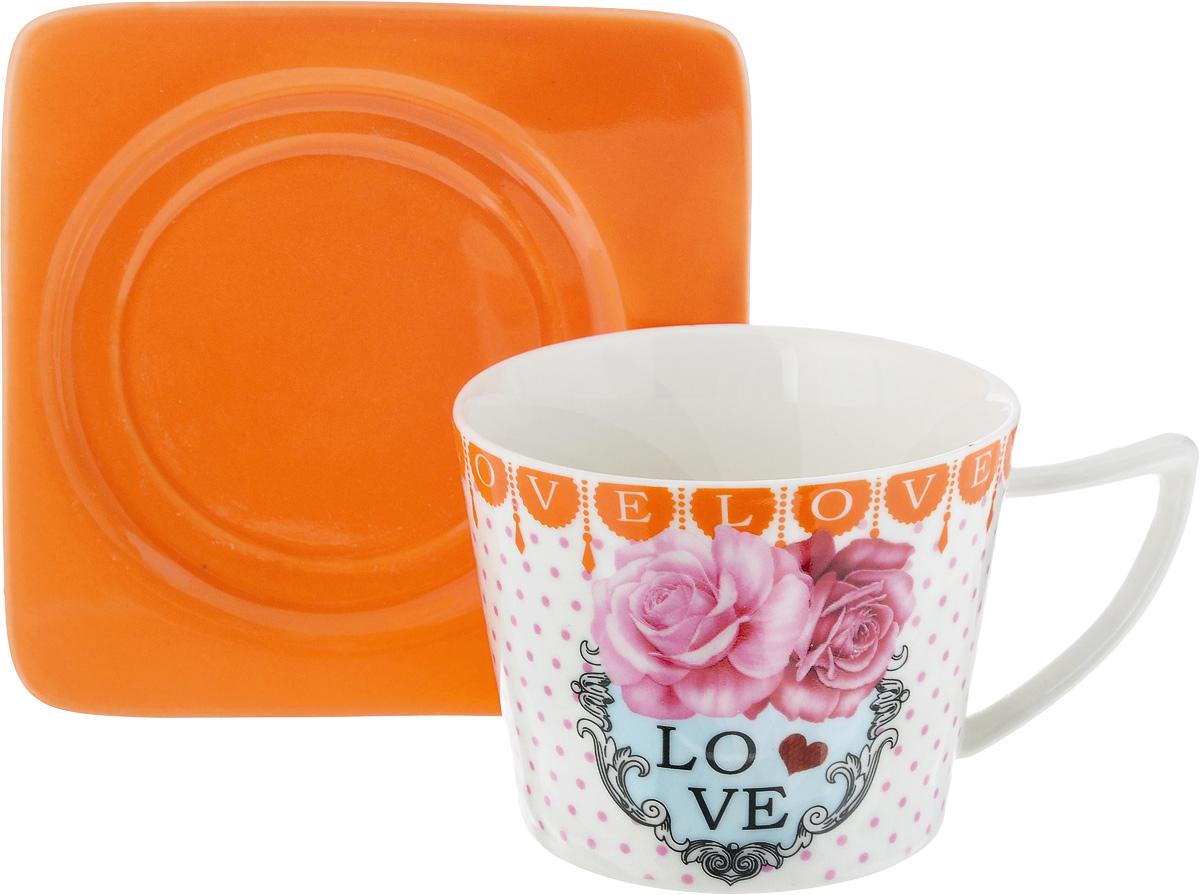 Чайная пара Loraine, цвет: белый, розовый, оранжевый, 2 предмета24710Чайная пара Loraine, выполненная из керамики, состоит из чашки и блюдца. Чашка оформлена ярким изображением и надписью Love. Изящный дизайн и красочность оформления придутся по вкусу и ценителям классики, и тем, кто предпочитает современный стиль. Чайный набор - идеальный и необходимый подарок для вашего дома и для ваших друзей в праздники, юбилеи и торжества! Он также станет отличным корпоративным подарком и украшением любой кухни. Чайная пара упакована в подарочную коробку из плотного цветного картона. Внутренняя часть коробки задрапирована белым атласом. Диаметр чашки: 8,5 см. Высота чашки: 6,5 см. Объем чашки: 230 мл. Размеры блюдца: 12 х 12 х 1,5 см.