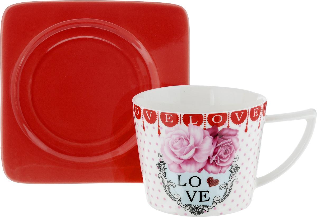 Чайная пара Loraine, цвет: белый, розовый, красный, 2 предмета24708Чайная пара Loraine, выполненная из керамики, состоит из чашки и блюдца. Чашка оформлена ярким изображением и надписью Love. Изящный дизайн и красочность оформления придутся по вкусу и ценителям классики, и тем, кто предпочитает современный стиль. Чайный набор - идеальный и необходимый подарок для вашего дома и для ваших друзей в праздники, юбилеи и торжества! Он также станет отличным корпоративным подарком и украшением любой кухни. Чайная пара упакована в подарочную коробку из плотного цветного картона. Внутренняя часть коробки задрапирована белым атласом. Диаметр чашки: 8,5 см. Высота чашки: 6,5 см. Объем чашки: 230 мл. Размеры блюдца: 12 х 12 х 1,5 см.
