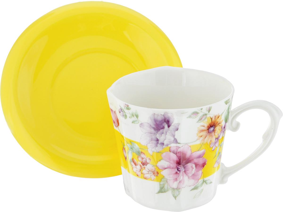 Чайная пара Loraine I Love you, 230 мл, 2 пердмета24714Чайная пара Loraine I Love you, выполненная из керамики, состоит из одной чашки и блюдца. Предметы набора оформлены ярким изображением цветов. Изящный дизайн и красочность оформления придутся по вкусу и ценителям классики, и тем, кто предпочитает утонченность и изысканность. Чайная пара - идеальный и необходимый подарок для вашего дома и для ваших друзей в праздники, юбилеи и торжества! Он также станет отличным корпоративным подарком и украшением любой кухни. Чайный набор упакован в подарочную коробку из плотного цветного картона. Внутренняя часть коробки задрапирована белым атласом. Диаметр чашки (по верхнему краю): 8,5 см. Высота чашки: 8 см. Диаметр блюдца: 14 см. Высота блюдца: 1,5 см.