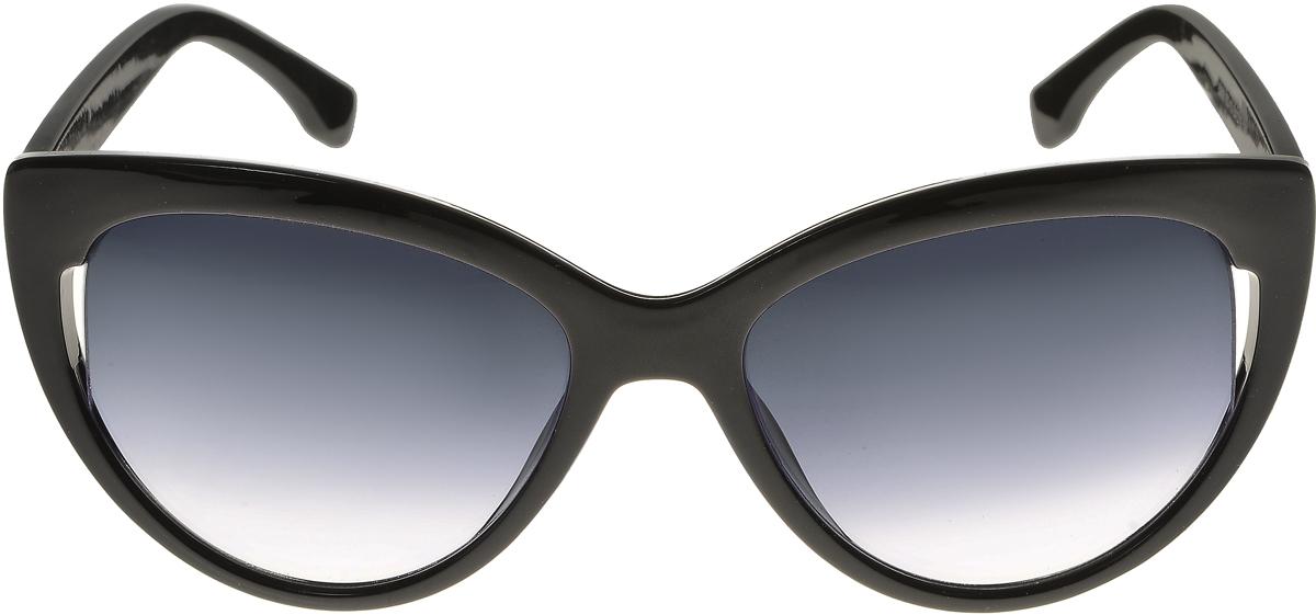 Очки солнцезащитные женские Vittorio Richi, цвет: черный. ОС5006с80-10/17fFM-550-PTЭлегантные солнцезащитные очки Vittorio Richi выполнены из высококачественного пластика. Пластик используемый при изготовлении линз не искажает изображение, не подвержен нагреванию и вредному воздействию солнечных лучей. Оправа очков легкая, прилегающей формы и поэтому обеспечивает максимальный комфорт. Такие очки защитят глаза от ультрафиолетовых лучей, подчеркнут вашу индивидуальность и сделают ваш образ завершенным.