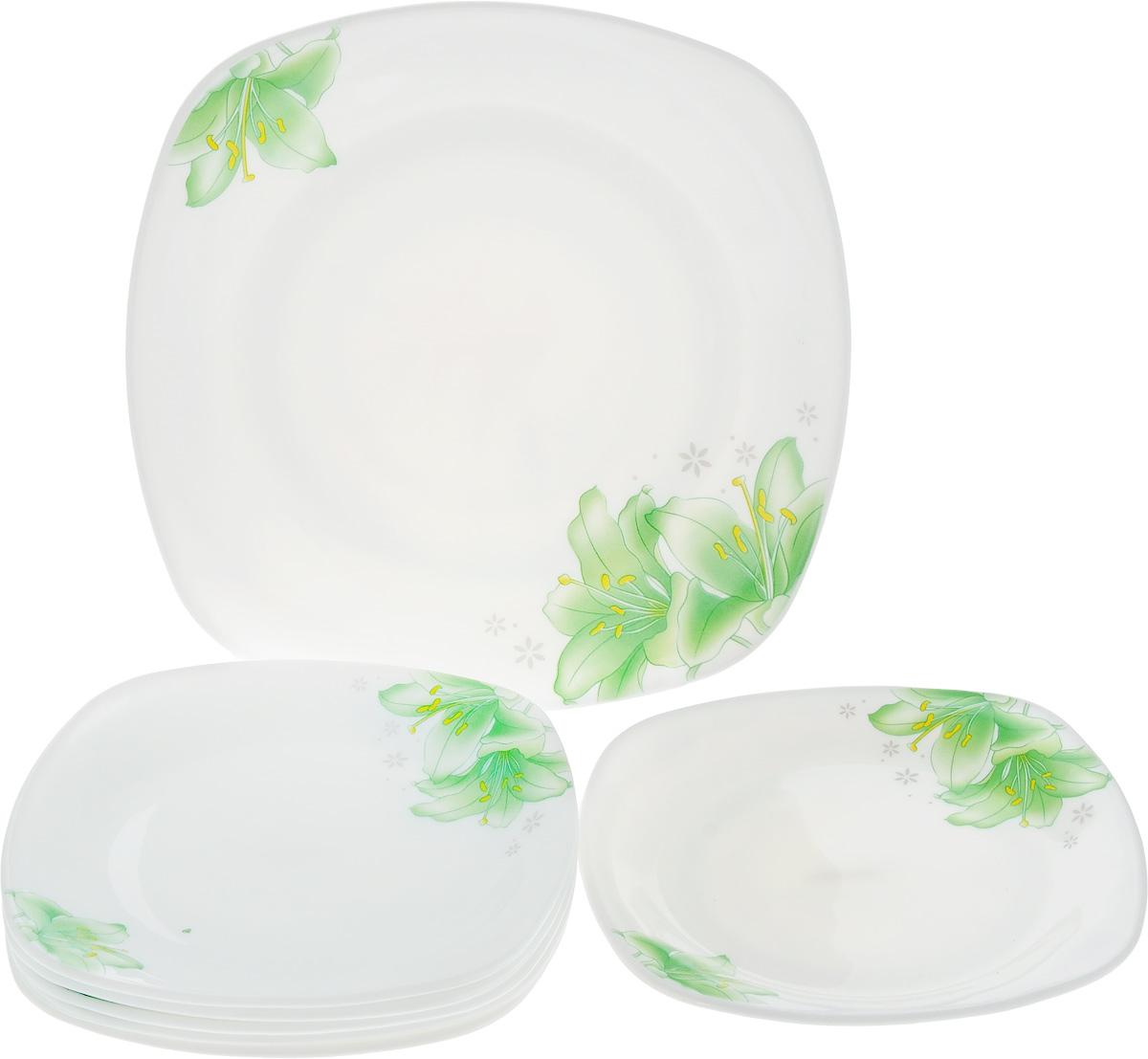Набор тарелок Loraine, 7 шт. 2368923689Набор Loraine состоит из 6 десертных тарелок и 1 блюда. Изделия, выполненные из прочного стекла, оформлены ярким рисунком цветов и имеют квадратную форму. Посуда отличается прочностью, гигиеничностью и долгим сроком службы, она устойчива к появлению царапин и резким перепадам температур. Такой набор прекрасно подойдет как для повседневного использования, так и для праздников или особенных случаев. Можно мыть в посудомоечной машине и использовать в микроволновой печи. Размер блюда: 26 х 26 х 3 см. Размер десертной тарелки: 19 х 19 х 2 см.