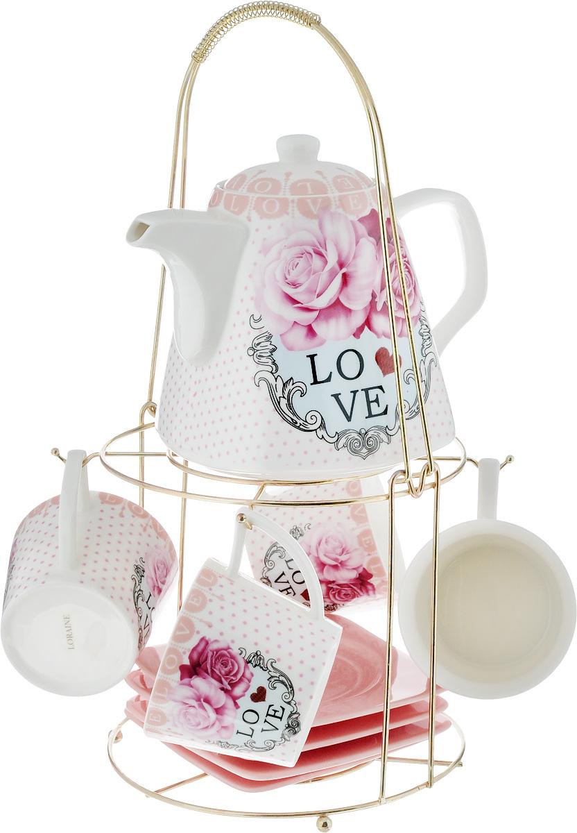 Набор чайный Loraine, на подставке, 10 предметов. 2472924729Чайный набор Loraine состоит из 4 чашек, 4 блюдец, заварочного чайника и подставки. Посуда изготовлена из качественной глазурованной керамики и оформлена изображением цветов. Блюдца и чашки имеют необычную фигурную форму. Все предметы располагаются на удобной металлической подставке с ручкой. Элегантный дизайн набора придется по вкусу и ценителям классики, и тем, кто предпочитает современный стиль. Он настроит на позитивный лад и подарит хорошее настроение с самого утра. Чайный набор Loraine идеально подойдет для сервировки стола и станет отличным подарком к любому празднику. Можно использовать в СВЧ и мыть в посудомоечной машине. Объем чашки: 250 мл. Размеры чашки (по верхнему краю): 8,5 х 8,2 см. Высота чашки: 7,5 см. Диаметр блюдца: 14 см. Высота блюдца: 1,5 см. Объем чайника: 1,1 л. Размер чайника (без учета ручки и носика): 13 х 13 х 13 см. Размер подставки: 18 х 18 х 37 см.